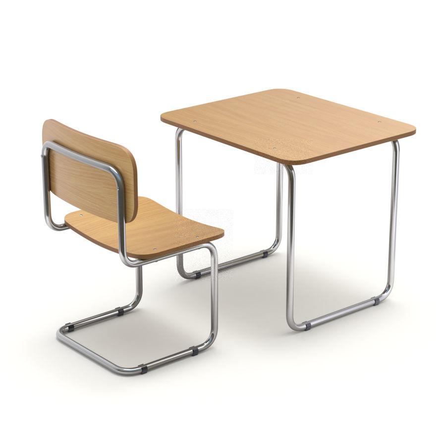 Banco e sedia della scuola royalty-free 3d model - Preview no. 1