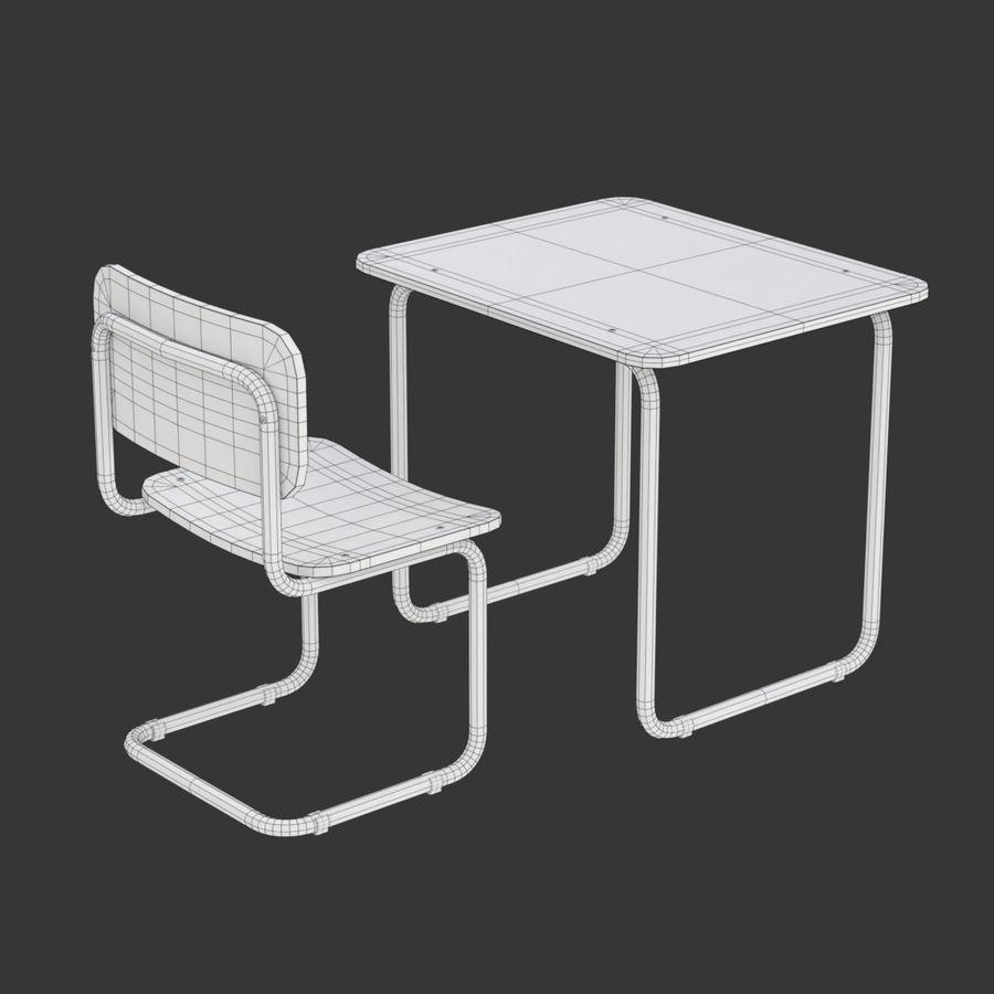 Banco e sedia della scuola royalty-free 3d model - Preview no. 14