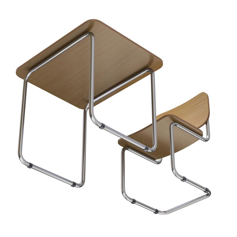 Banco e sedia della scuola royalty-free 3d model - Preview no. 8