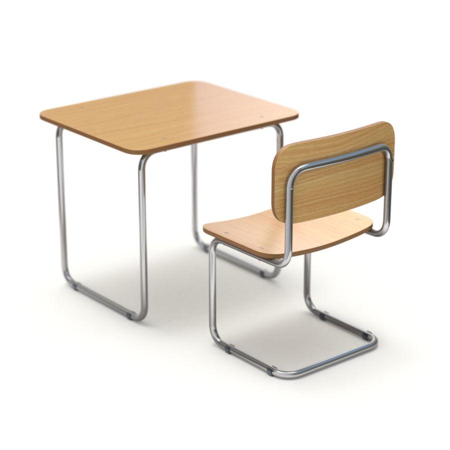 Banco e sedia della scuola royalty-free 3d model - Preview no. 5