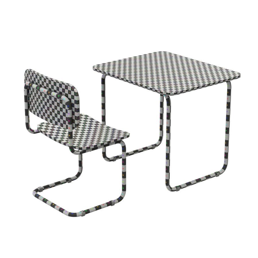 Banco e sedia della scuola royalty-free 3d model - Preview no. 9