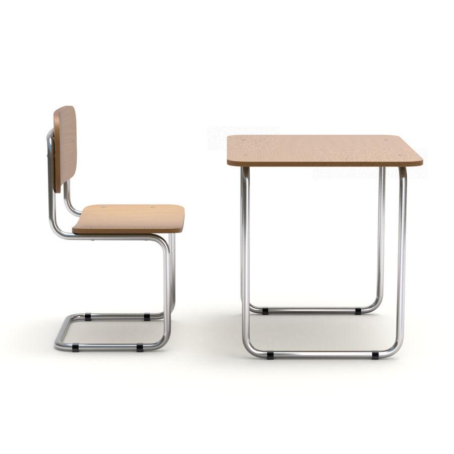 Banco e sedia della scuola royalty-free 3d model - Preview no. 6
