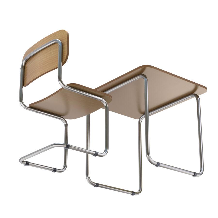 Banco e sedia della scuola royalty-free 3d model - Preview no. 7