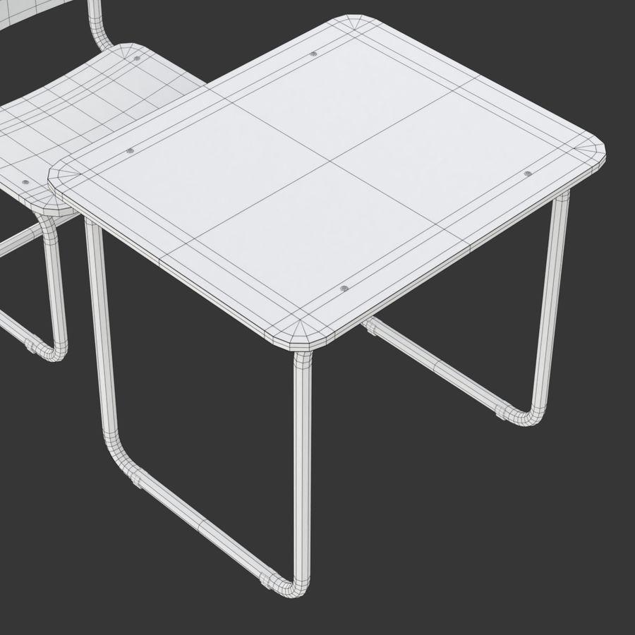 Banco e sedia della scuola royalty-free 3d model - Preview no. 16
