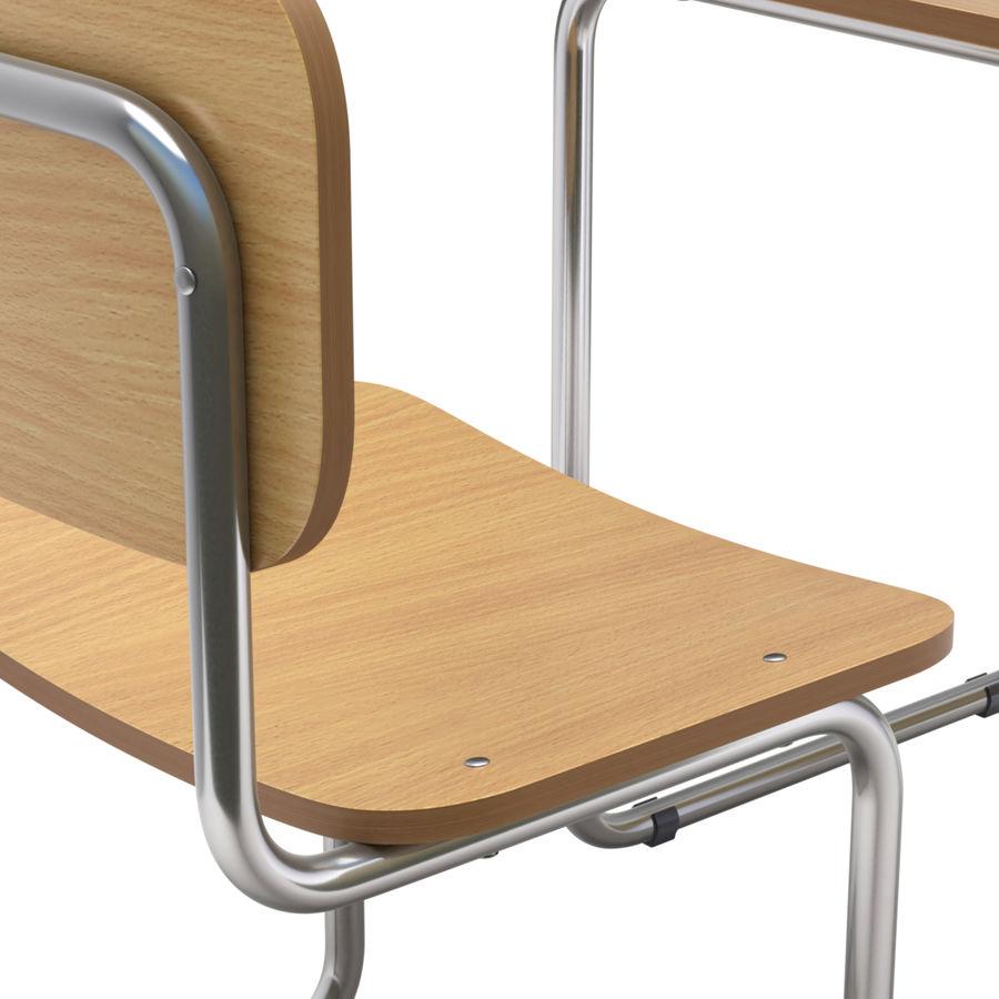 Banco e sedia della scuola royalty-free 3d model - Preview no. 2