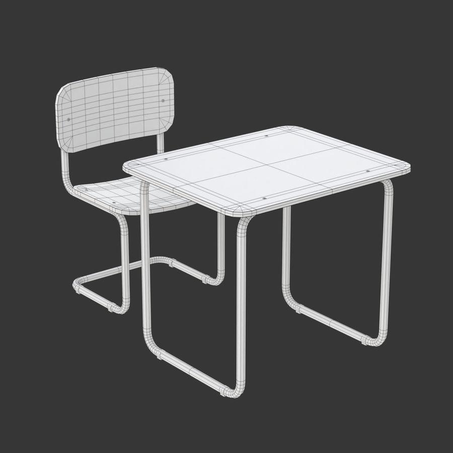 Banco e sedia della scuola royalty-free 3d model - Preview no. 18