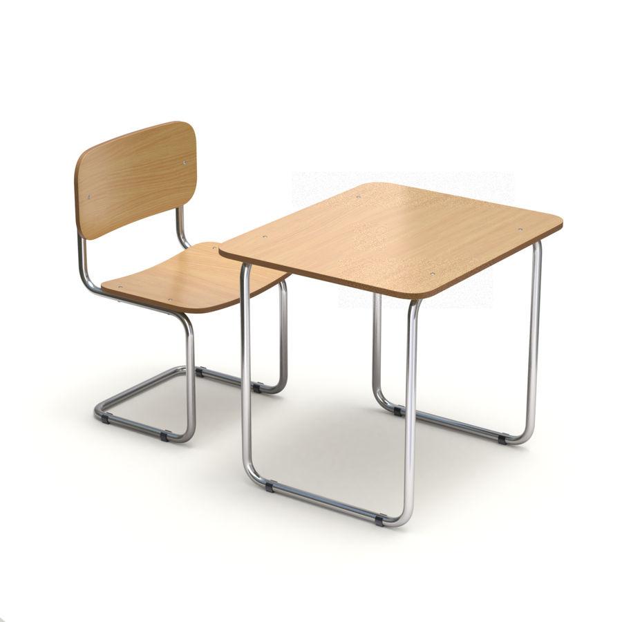 Banco e sedia della scuola royalty-free 3d model - Preview no. 4