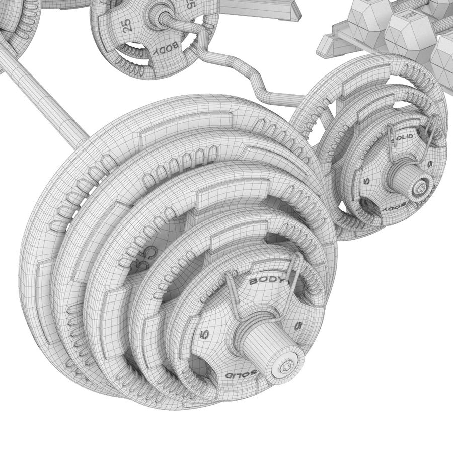 Гимнастический зал для тела Body-Solid royalty-free 3d model - Preview no. 7