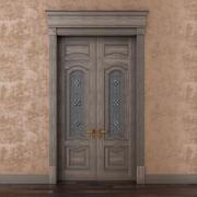 Porta classica con vetrata 3d model