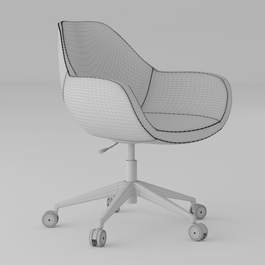 橙色皮革办公椅 royalty-free 3d model - Preview no. 4