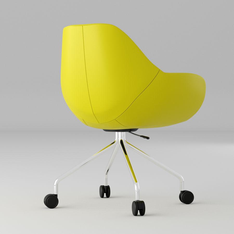现代黄色皮革办公椅 royalty-free 3d model - Preview no. 2