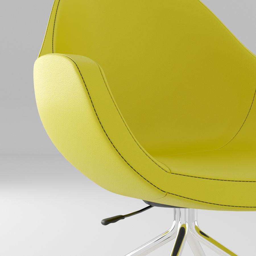 现代黄色皮革办公椅 royalty-free 3d model - Preview no. 3