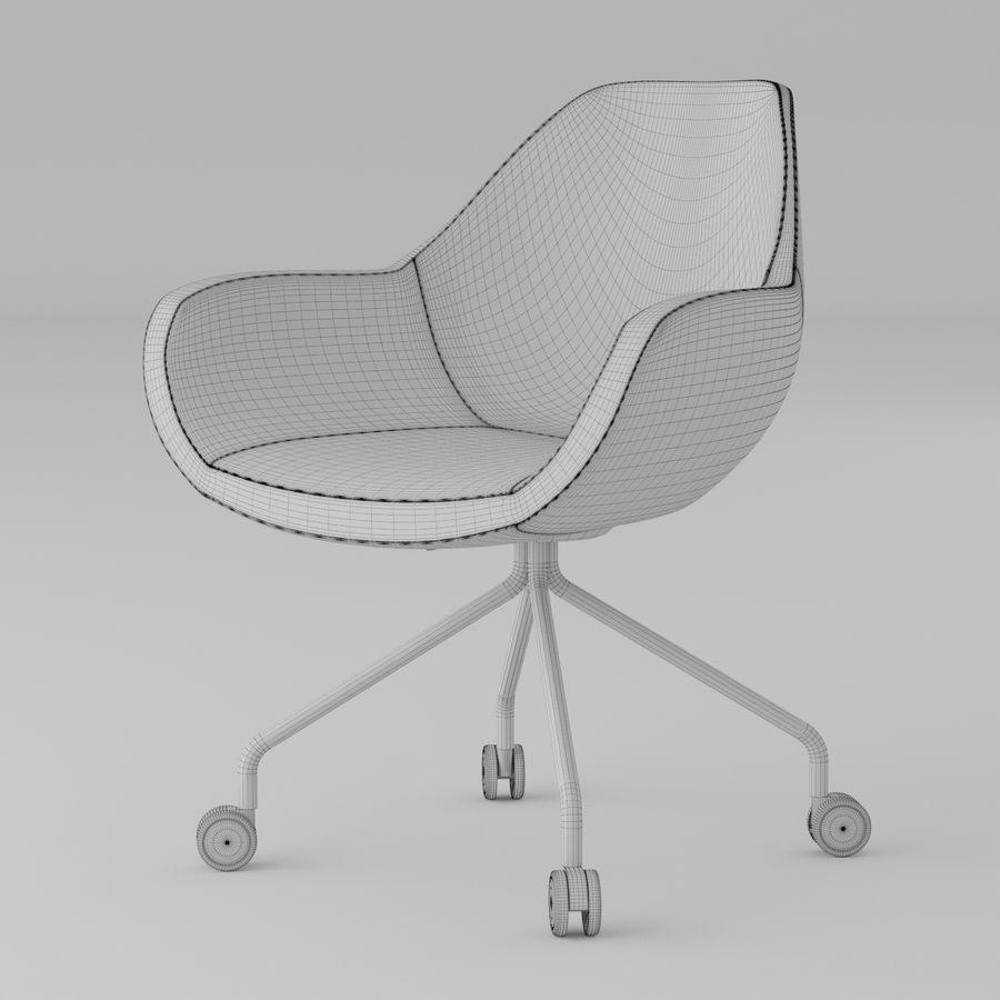 现代黄色皮革办公椅 royalty-free 3d model - Preview no. 4