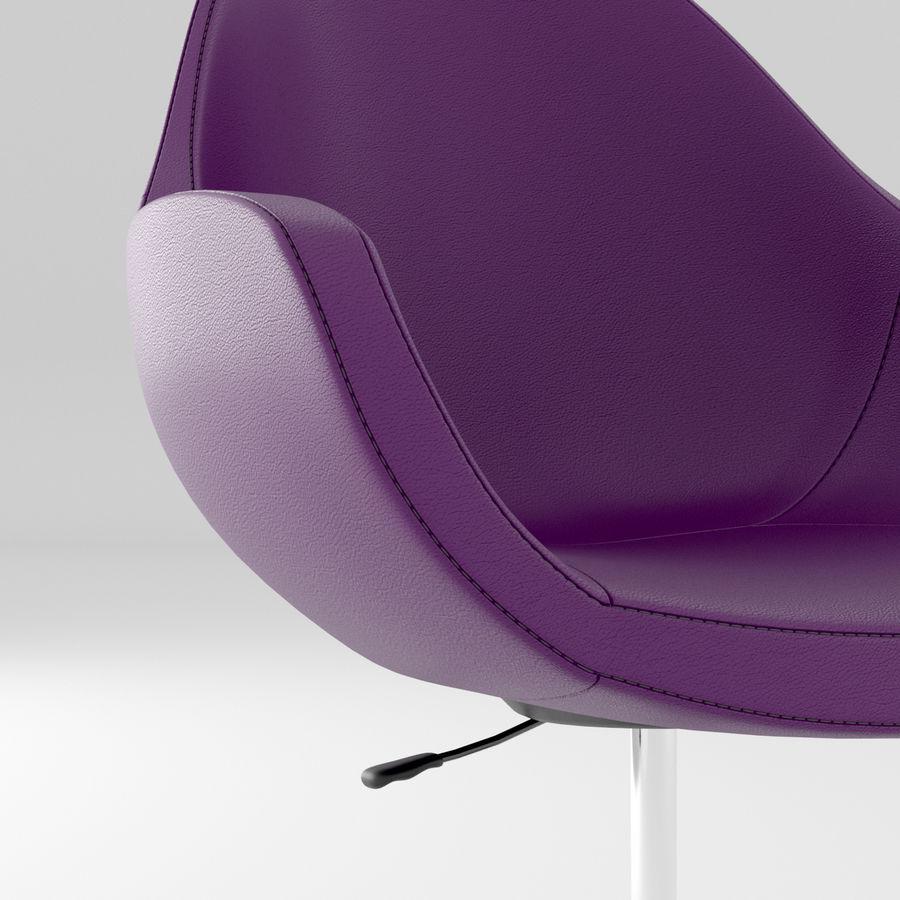 紫色皮革办公椅 royalty-free 3d model - Preview no. 3
