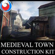 Средневековый город Строительный комплект 3d model