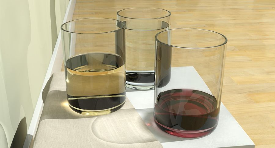 Bicchieri Con Liquidi Trasparenti royalty-free 3d model - Preview no. 15