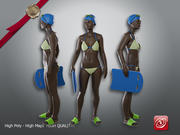 Pływacka kobieta AAF 001 3d model