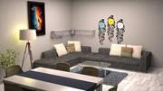 oturma odası ve yemek odası 3d model