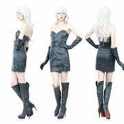 Heißes Mädchen in Stiefeln und Lederkleid 3d model