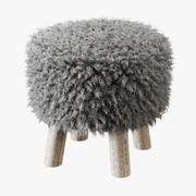 哥特兰豪华羊皮凳 3d model