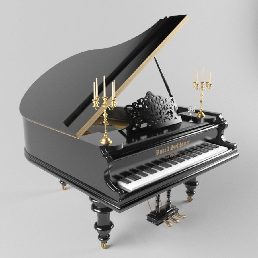 Pianoforte royalty-free 3d model - Preview no. 1