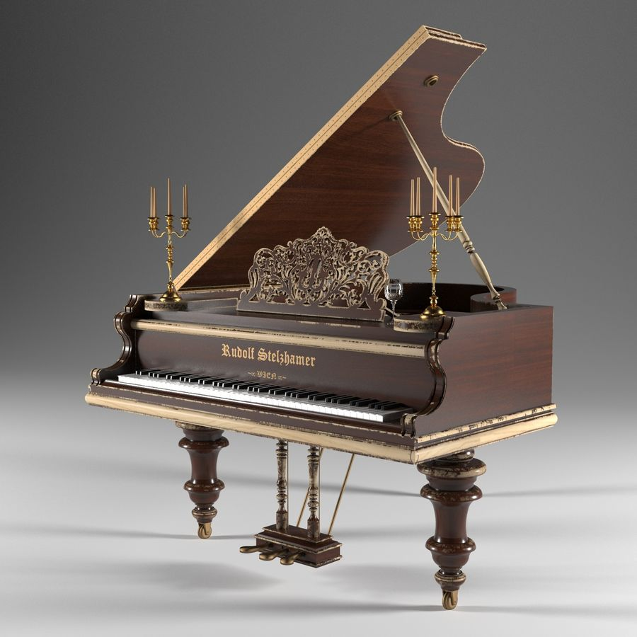 Pianoforte royalty-free 3d model - Preview no. 2