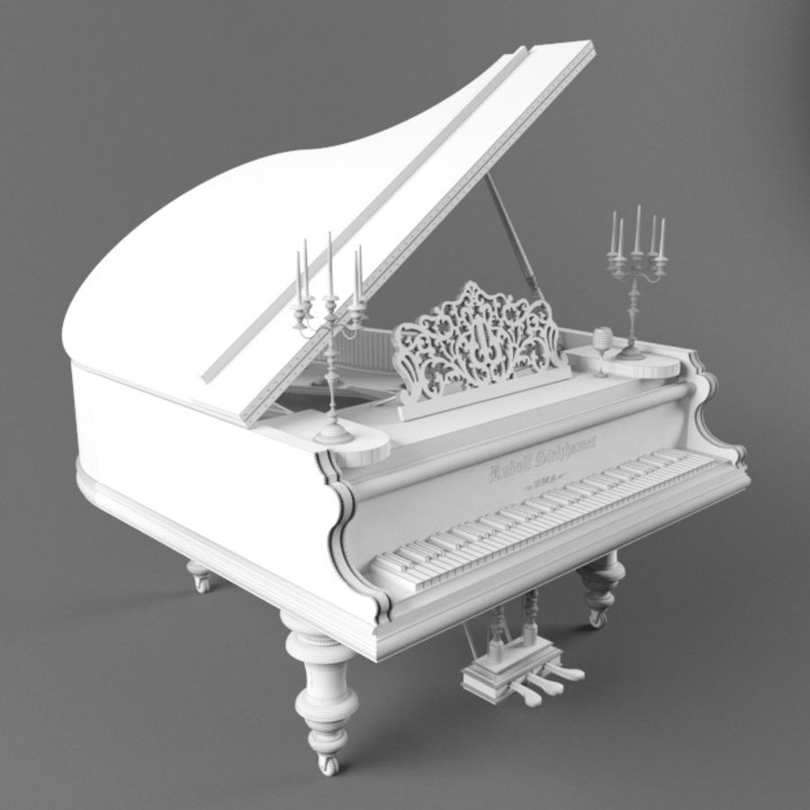 Pianoforte royalty-free 3d model - Preview no. 4