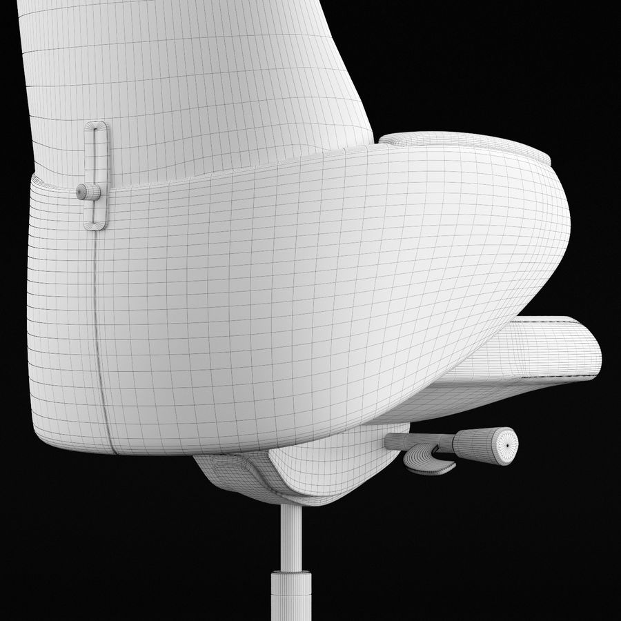 现代皮革办公椅 royalty-free 3d model - Preview no. 15