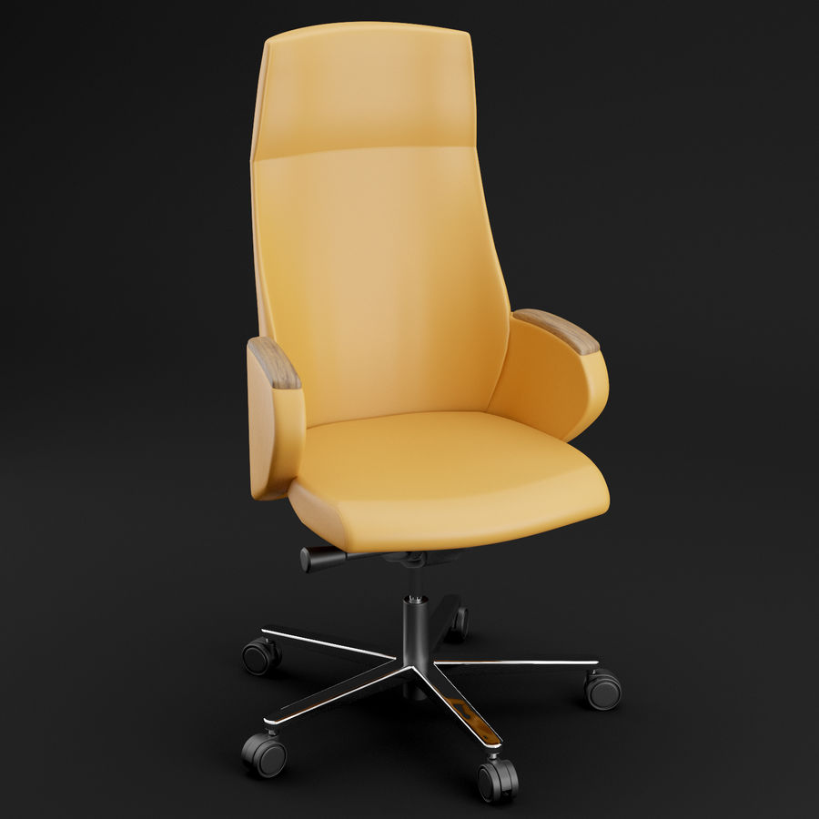 现代皮革办公椅 royalty-free 3d model - Preview no. 5