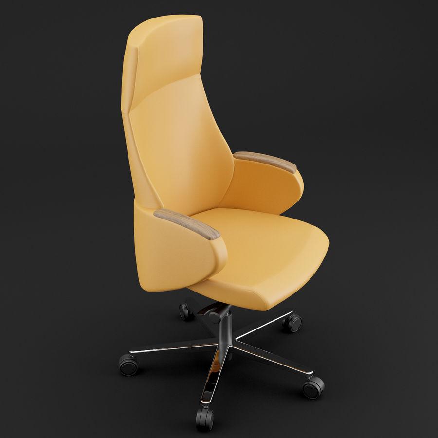 现代皮革办公椅 royalty-free 3d model - Preview no. 3