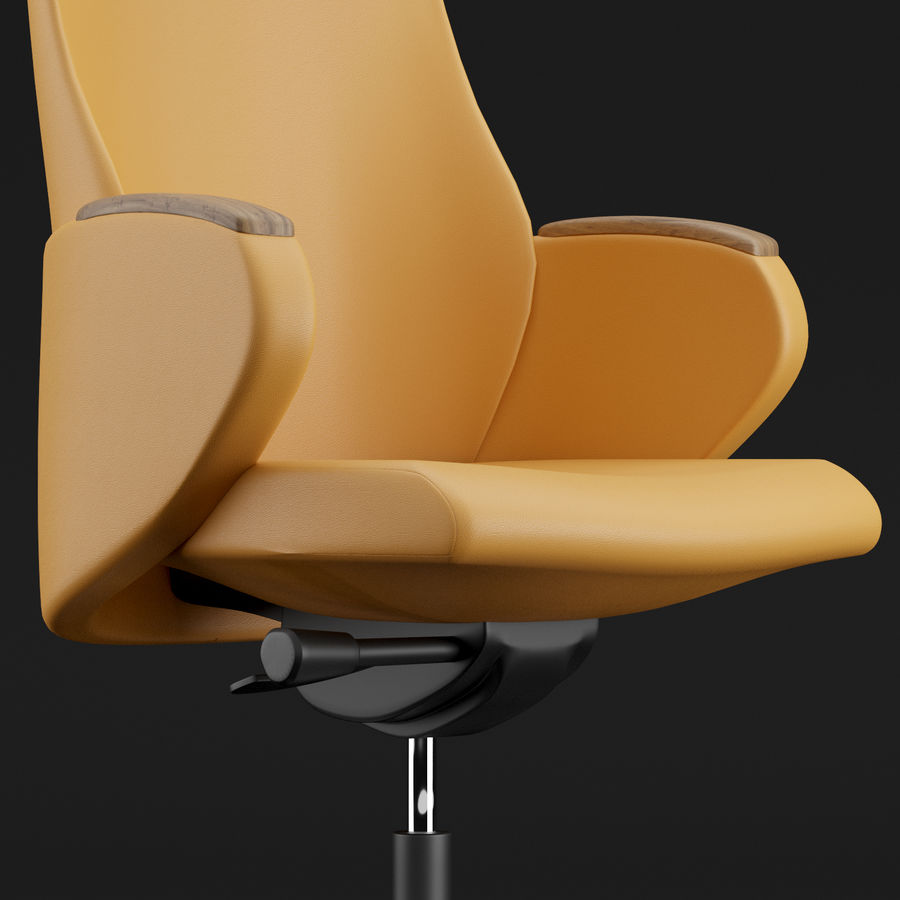 现代皮革办公椅 royalty-free 3d model - Preview no. 7
