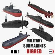 Militära ubåtar riggade samling 3d model