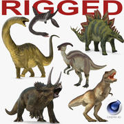 Rigged Dinosaurs Collection for Cinema 4D 3d model