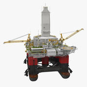 Semi Submersible Drilling Rig Rigged 3d model