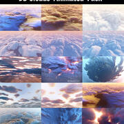 3D Clouds  Animated  Pack 15 3d model