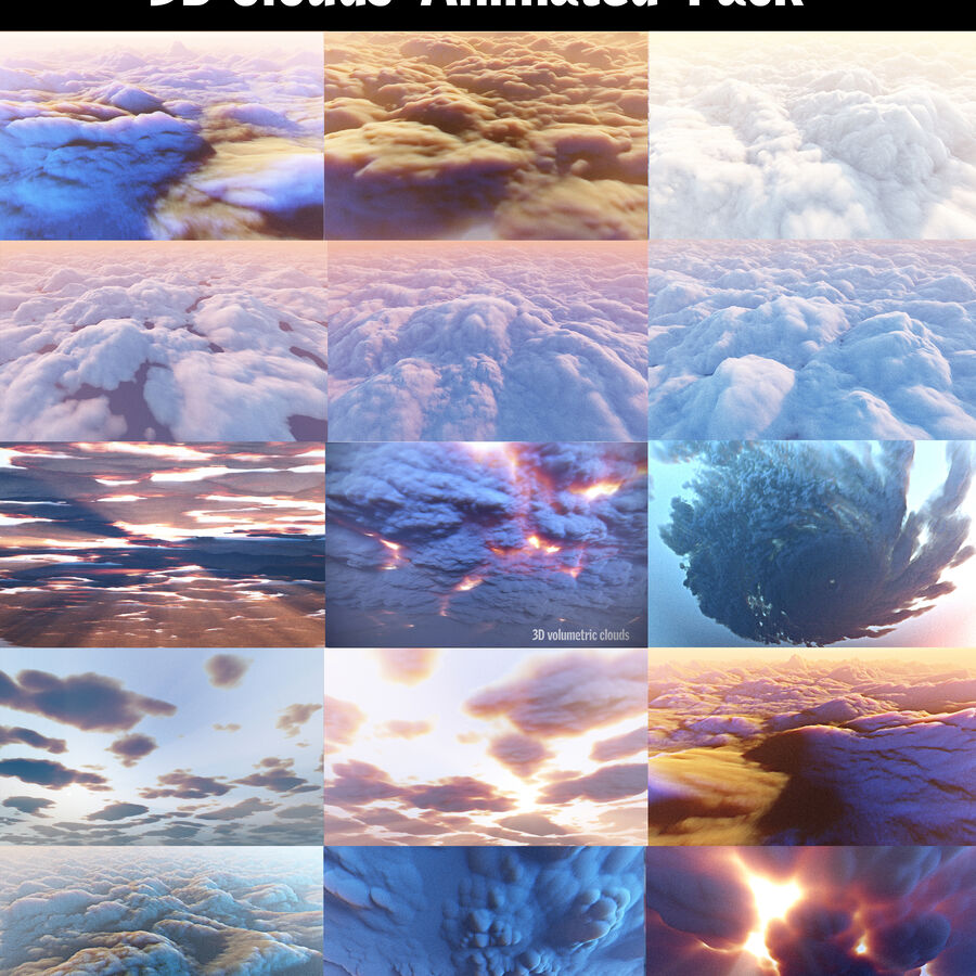Pack animé de nuages 3D 15 royalty-free 3d model - Preview no. 1