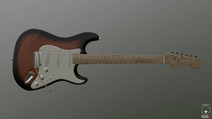 Fender Stratocaster (팬) royalty-free 3d model - Preview no. 4