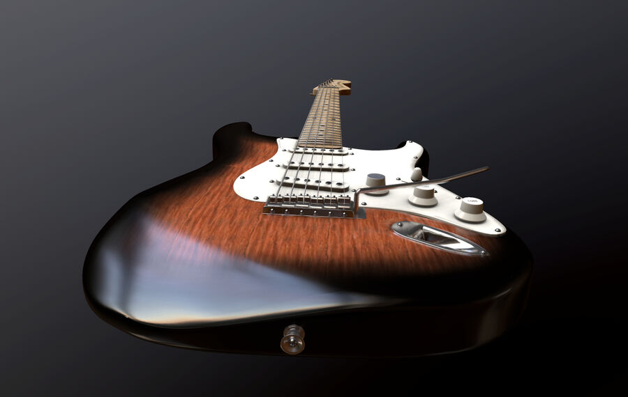 Fender Stratocaster (팬) royalty-free 3d model - Preview no. 3