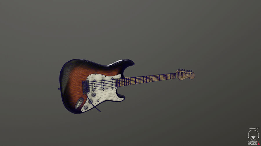 Fender Stratocaster (팬) royalty-free 3d model - Preview no. 5