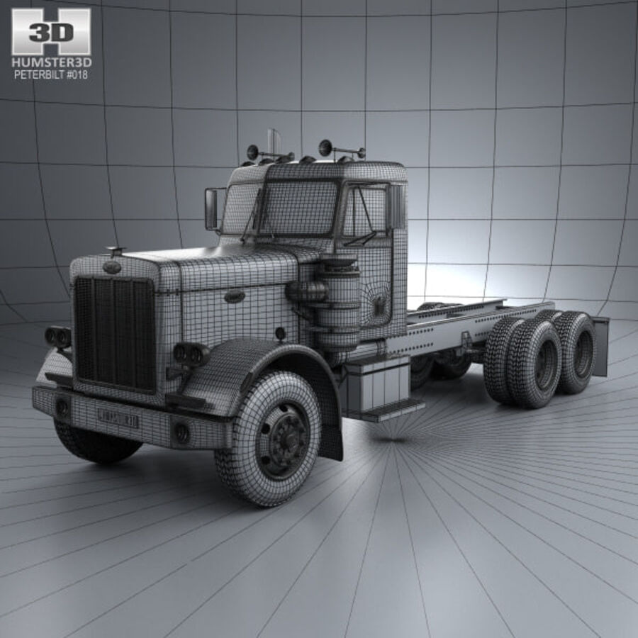 Peterbilt 359 шасси грузовик 1967 royalty-free 3d model - Preview no. 3