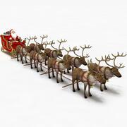 Weihnachtsmann im Schlitten mit Rentieren 3d model