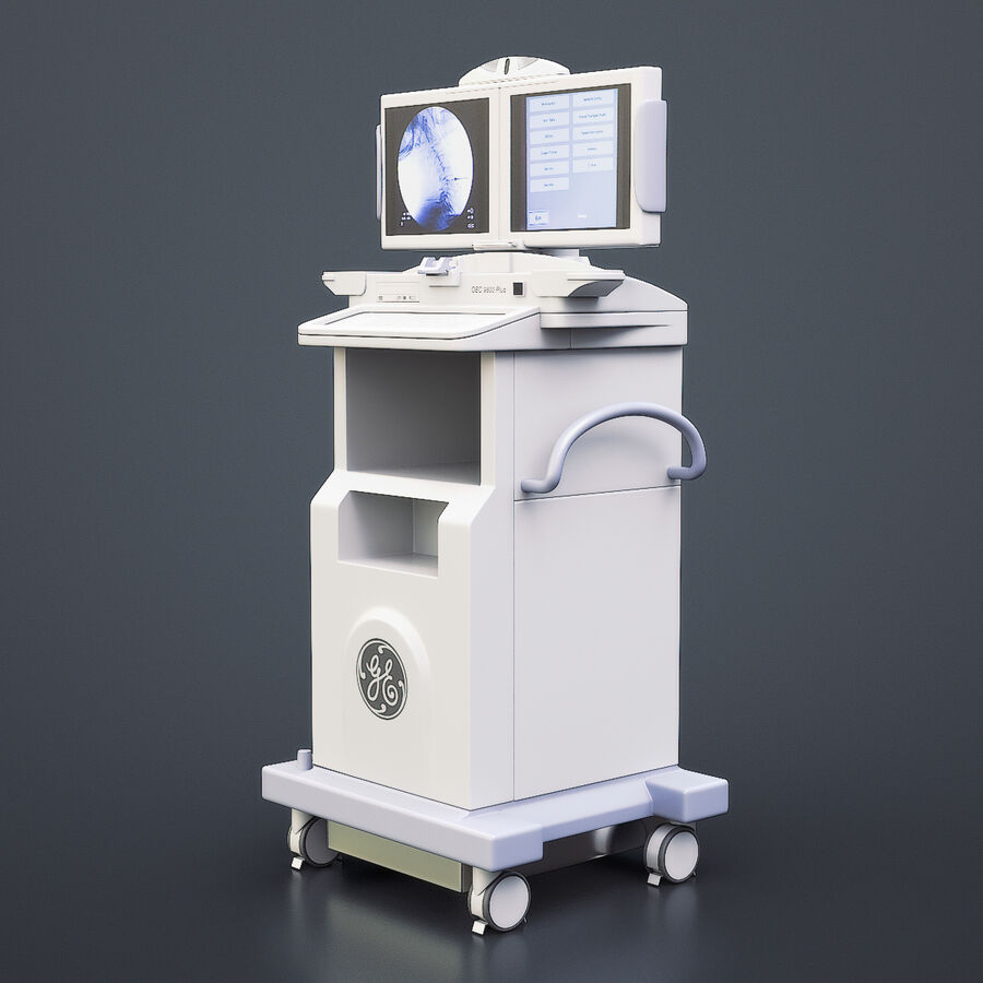 Medical GE C-Arm With Cart royalty-free 3d model - Preview no. 8