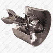 Motor Turbofan de Aeronaves. Cutaway. 3d model