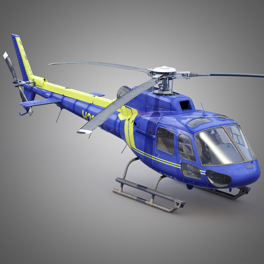 Eurocopter H-125 royalty-free 3d model - Preview no. 3