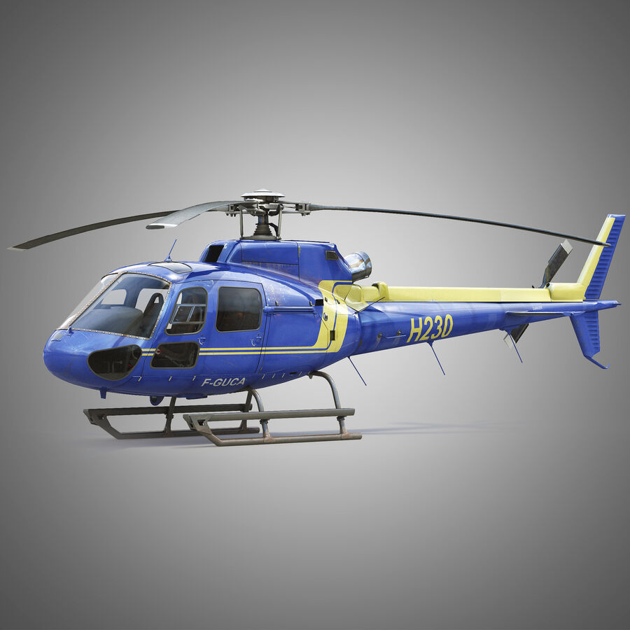Eurocopter H-125 royalty-free 3d model - Preview no. 2