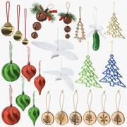 Coleção de enfeites de natal 3d model
