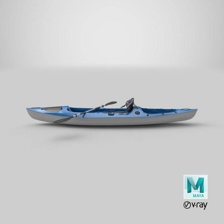 Kayak con Paddle Vray PBR con pelli royalty-free 3d model - Preview no. 13