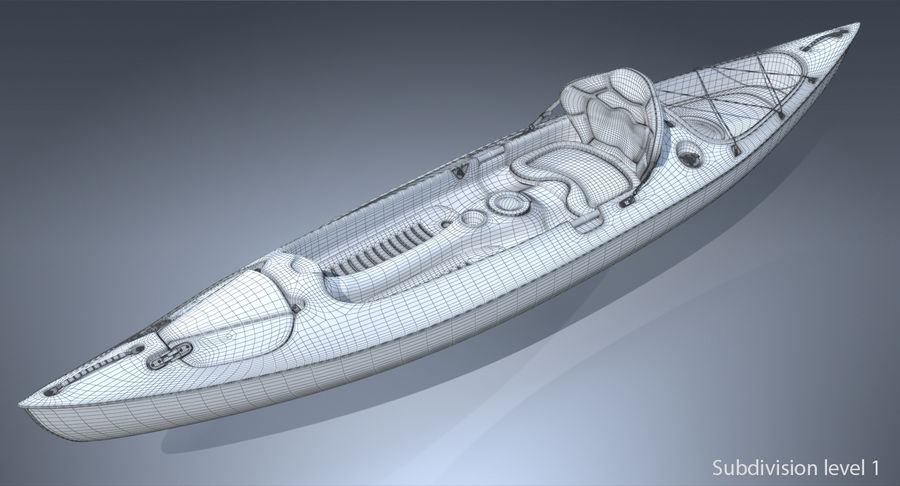 Kayak con Paddle Vray PBR con pelli royalty-free 3d model - Preview no. 9