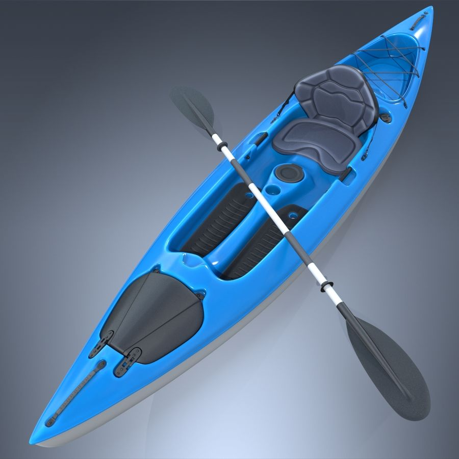 Kayak con Paddle Vray PBR con pelli royalty-free 3d model - Preview no. 12