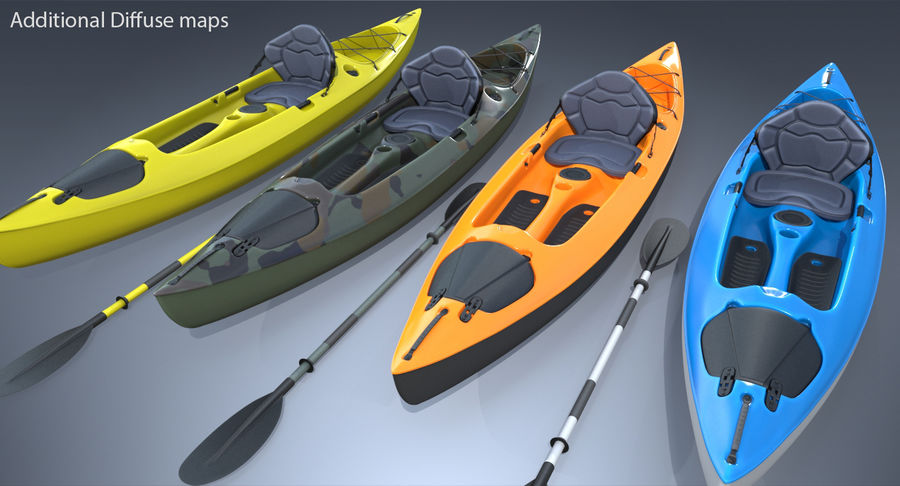 Kayak con Paddle Vray PBR con pelli royalty-free 3d model - Preview no. 2